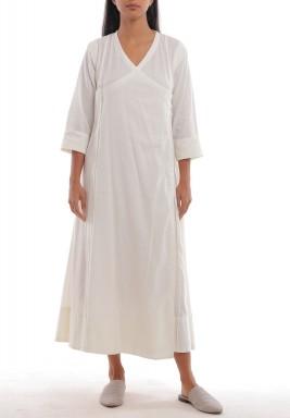 فستان فز أبيض عاجي بأزرار جانبية