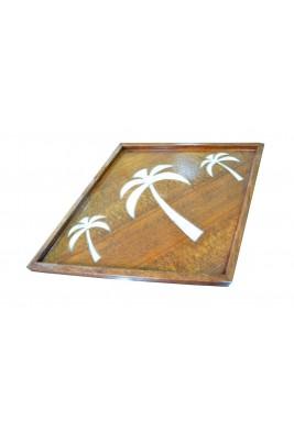 صينية خشبية بنقش ثلاثة نخلات