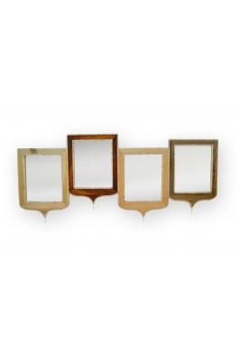 مرآة خشبية بتعليقة رباعية