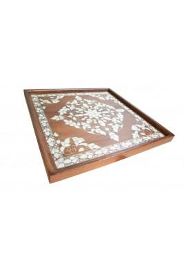 صينية تقديم خشبية مربعة