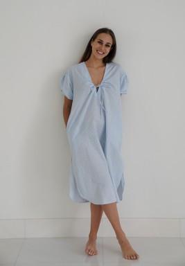 فستان أزرق وأبيض متوسط الطول للمنزل
