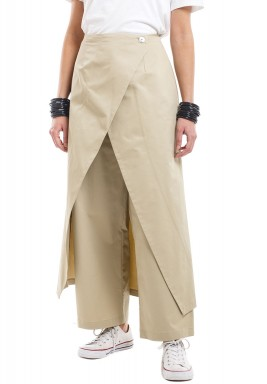 بنطال بيج طويل بنمط تنورة