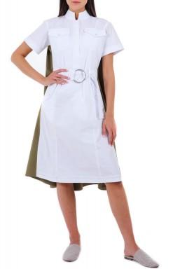 فستان أميليا الأبيض والزيتي نمط قميص