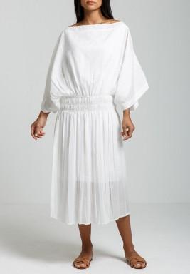 فستان روز أبيض فضفاض