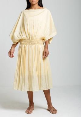 فستان روز أصفر فضفاض