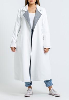 معطف أبيض ورمادي ذو وجهين