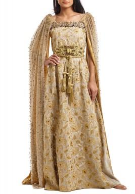 فستان إمبرس الذهبي مطرز محزم