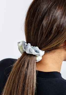 Rainbow Gray Velvet Scrunchie