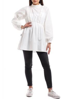قميص برانكا الأبيض بأكمام منفوشة