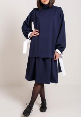 فستان كحلي قطعتين بأكمام طويلة