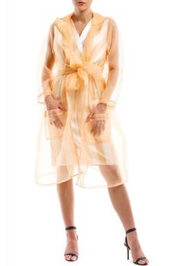 فستان مخطط بالبيج مع معطف خوخي