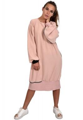 فستان طراز كنزة طويلة زهري