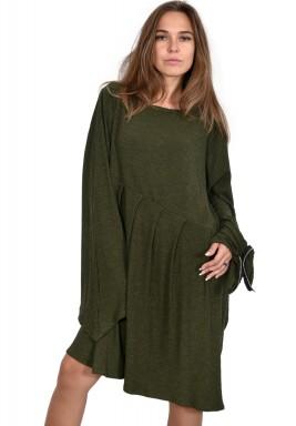 فستان  زيتوني غير متماثل مع تفصيل من سحاب على الأكمام