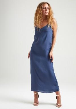 فستان كحلي حرير بدون أكمام