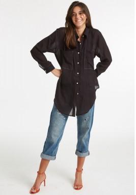 قميص شبكي أسود