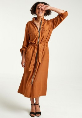 فستان بسحاب أمامي برتقالي