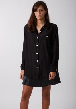 قميص حريري قطني أسود
