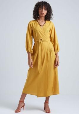 فستان ملتف كتان