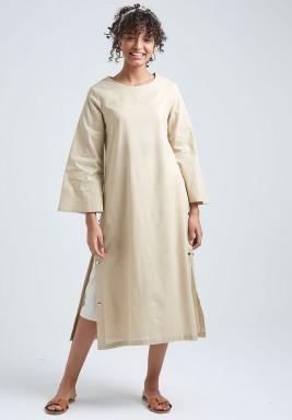 قميص بيج كتان نمط فستان
