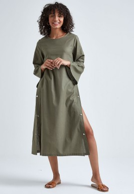 فستان قميص كتان زيتوني