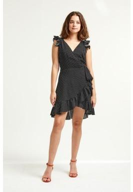 فستان ايزابيلا الأسود المنقط برفرفات