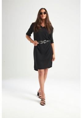 فستان أسود بولو باكمام قصيرة