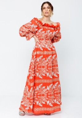 Orange Off Shoulder kaftan