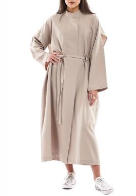 معطف ذي أذرز زهري فاتح كريمي