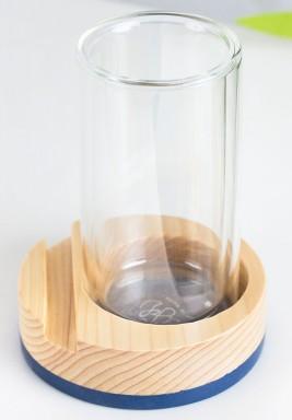 طقم كوب شاي مزدوج من الخشب و الزجاج من 6 قطع باللون الأزرق الفاتح