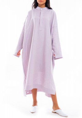 فستان بنفسجي فاتح فضفاض نمط قميص