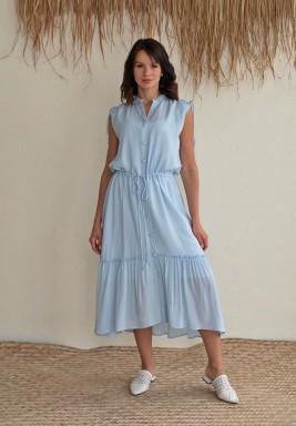 فستان أزرق متوسط الطول