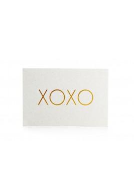 بطاقة XOXO أبيض وذهبي