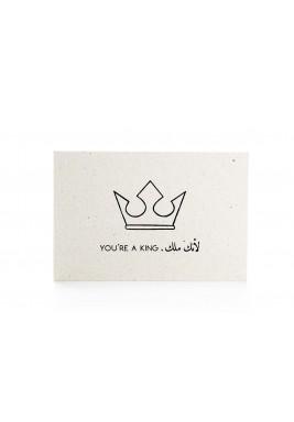 """بطاقة """"لأنك ملك"""" أبيض وأسود"""