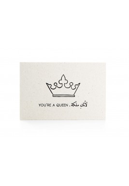 """بطاقة """"لأنك ملكة"""" أبيض وأسود"""