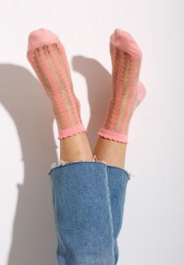 جوارب فيونا الوردية المخططة
