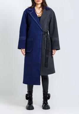معطف نصف أزرق نصف رمادي محزم