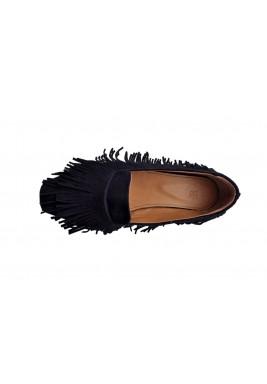 حذاء جبل الأسود المخمل بشراشيب