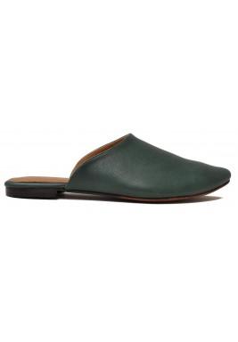 حذاء نخلة الأسود الجلد بمقدمة لوزية