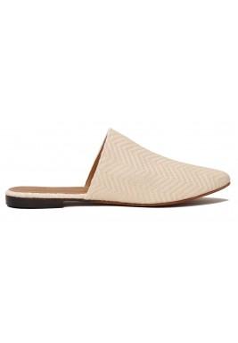 حذاء صافية أوف-وايت كتان مطرز