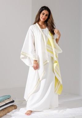 قفطان أبيض وأصفر مخطط بأكمام واسعة - إصدار محدود