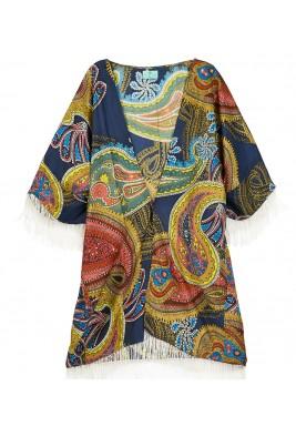 كيمونو مطبوع من الحرير