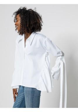 قميص بدون ظهر طويل الاكمام ابيض