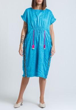 فستان امالفي أزرق مطرز برفرفات