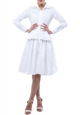 فستان أبيض بيبلوم بأكمام طويلة