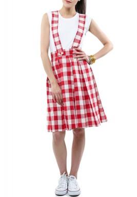 فستان أحمر وأبيض كاروهات بحمالات