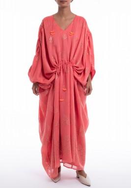 فستان كابري برتقالي فضفاض مزخرف