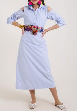 فستان أرزق مخطط بحزام ملون