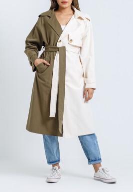 معطف بلونين محزم متوسط الطول