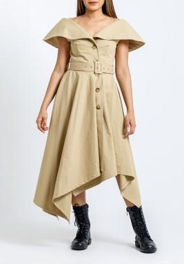 فستان بيج محزم بنمط معطف