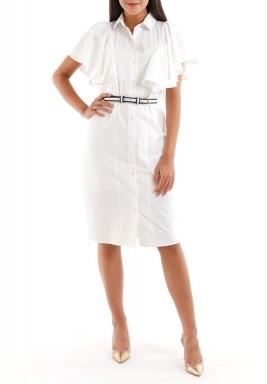 فستان أبيض برفرفات وأكمام قصيرة